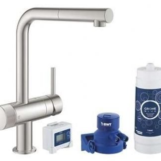 Starter Kit, L-Spout, GROHE Blue Pure Minta Brushed super steel